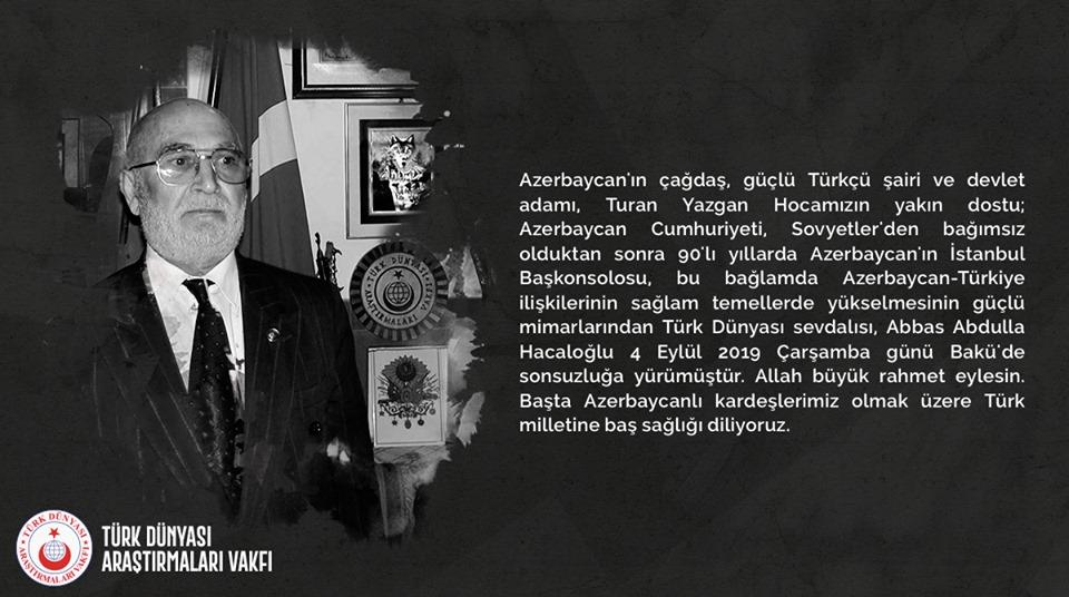 Abbas Abdulla Hacaloğlu Sonsuzluğa Yürüdü