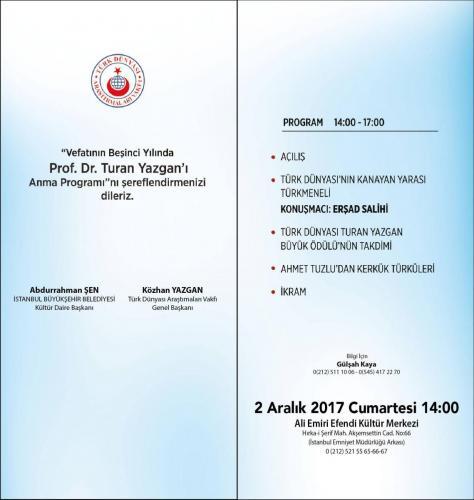 Prof. Dr. Turan Yazgan'ı Anma Programı 2017 Afiş